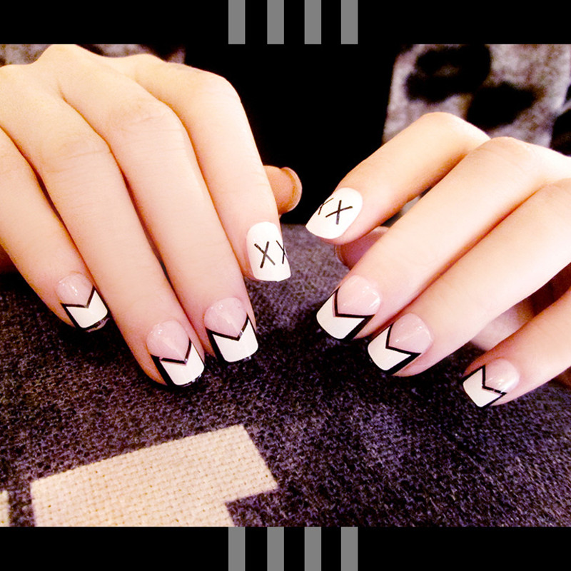 Saffly 24pcs Simple White Printing Nail Tips Square Head Style False Nails Short Fake For Lovely Girl Free Glue Sticker In From Beauty