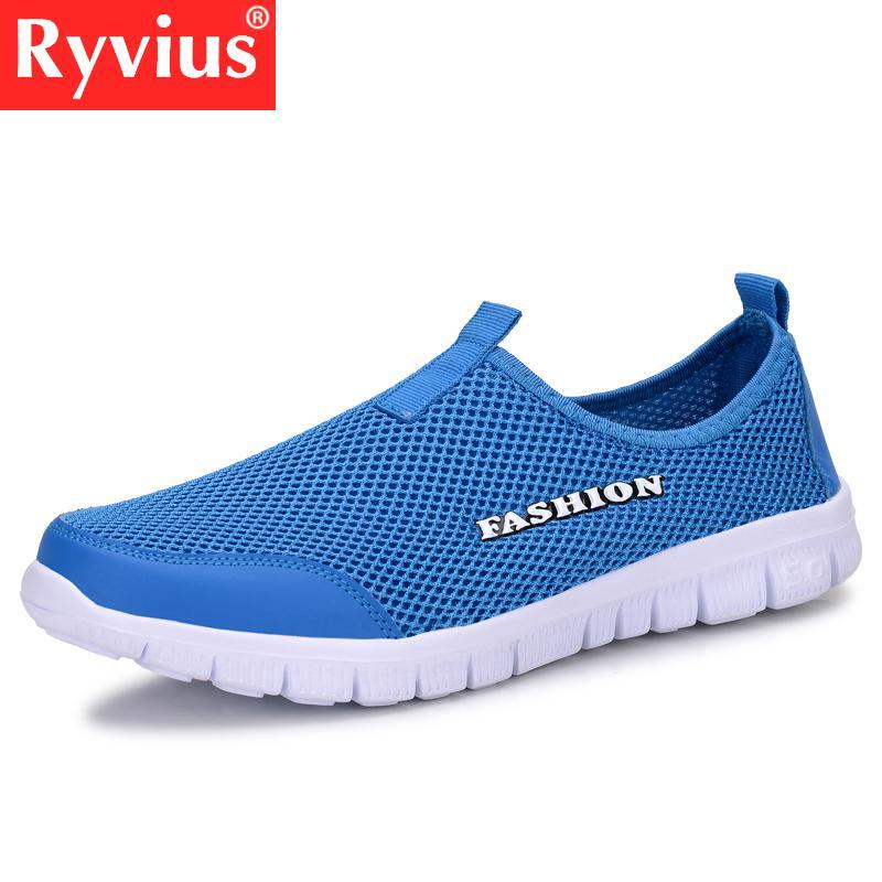 Ryvius Brand Men Shoes Fashion 2018 Summer Comfortable Men Casual Shoes Mesh Breathable Flat Shoes Cheap