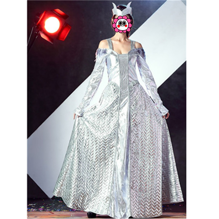 Newest Deluxe Sliver Winter War Ice Queen Costumes Egyptian Sparkle Costume Sexy Greek Goddess Costumes Adult Fancy Costumes