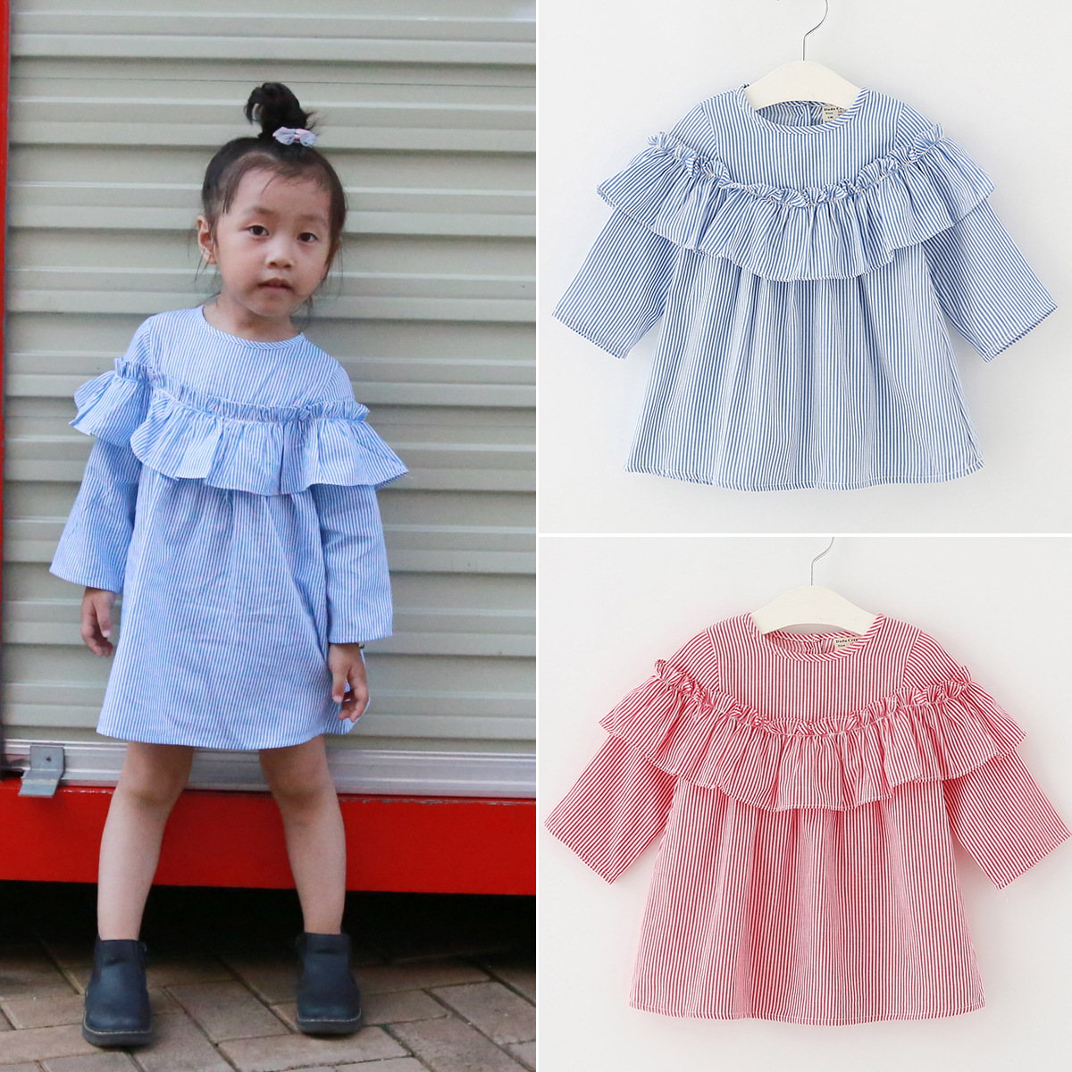 designer girl dresses striped children cotton dress for