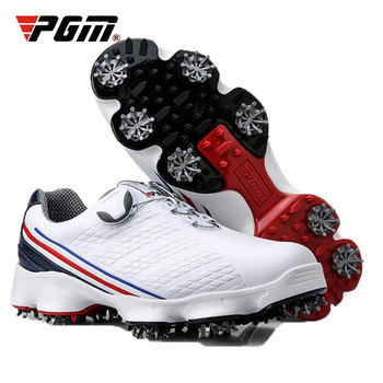 Golf Shoes Men Professional Leather Waterproof Golf Shoes Breathable Shoes Slip Resistant Spikes Sports Training Sneakers D0573