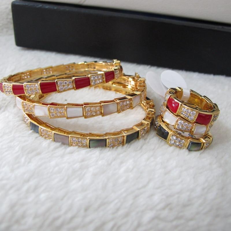 Cubic zirconia set di gioielli di pietra colorata braccialetti e anelli per le donne-in Parure di gioielli da Gioielli e accessori su  Gruppo 1
