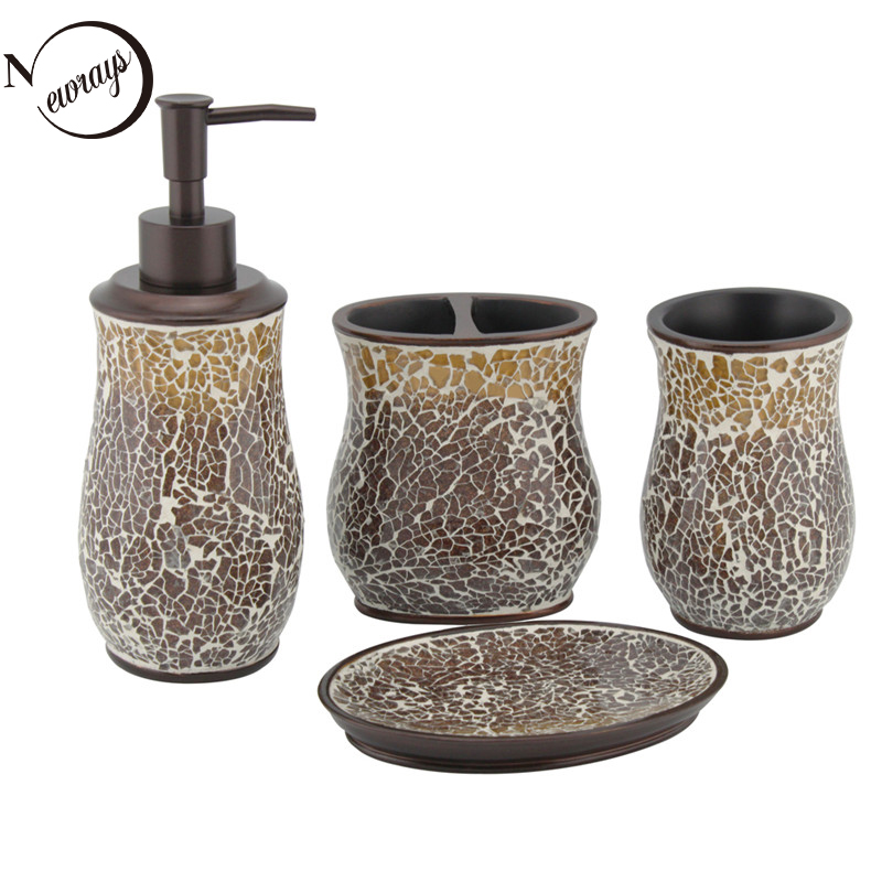 Modern simple plating resin crack glass lotion bottle&soap dish&toothbrush holder&mouth cup bathroom accessories four-piece image