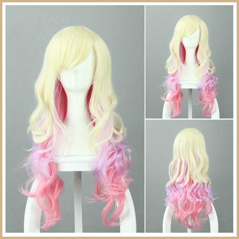 100 Kanekalon Fiber Cosplay Gradient Rainbow Harajuku Fashion Style Long Hair Wig 80cm Cos Wig