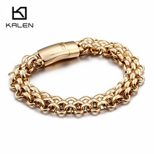 KALEN Wholesale Italy Gold Stainless Steel Chain Link Bracelets For Men Fashion Male 22CM Magnetic Hand Jewelry