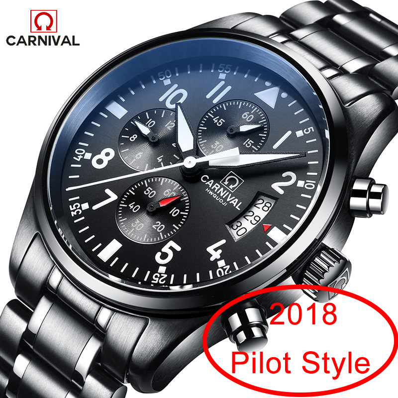 Carnival Aviator Luminous Watch Men Stainless Steel Fashion Brand quartz Waterproof Pilot Chronograph watch wristwatch masculineCarnival Aviator Luminous Watch Men Stainless Steel Fashion Brand quartz Waterproof Pilot Chronograph watch wristwatch masculine