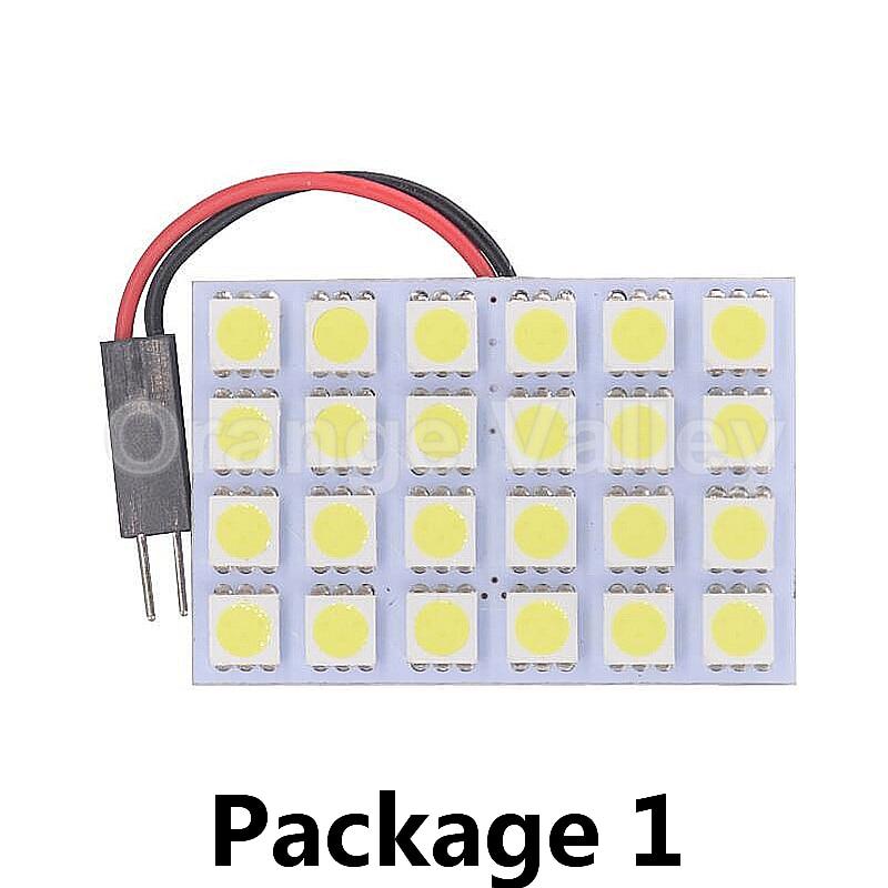 50Set Panel Dome Lights 24 SMD 5050 White Reading Light Car Interior Dome Light 12V LED