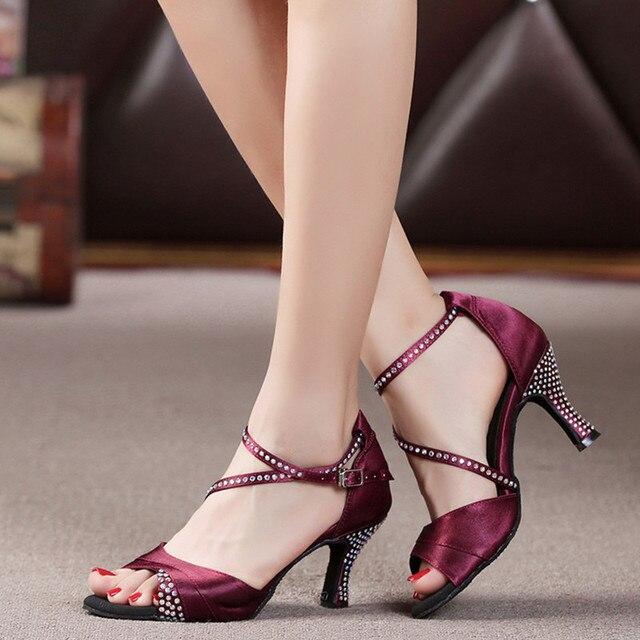 6e061668e The New European American Latin Dance Shoes Women Satin Rhinestone Ballroom  Shoes Modern Custom High-heel Latin Dance Shoes