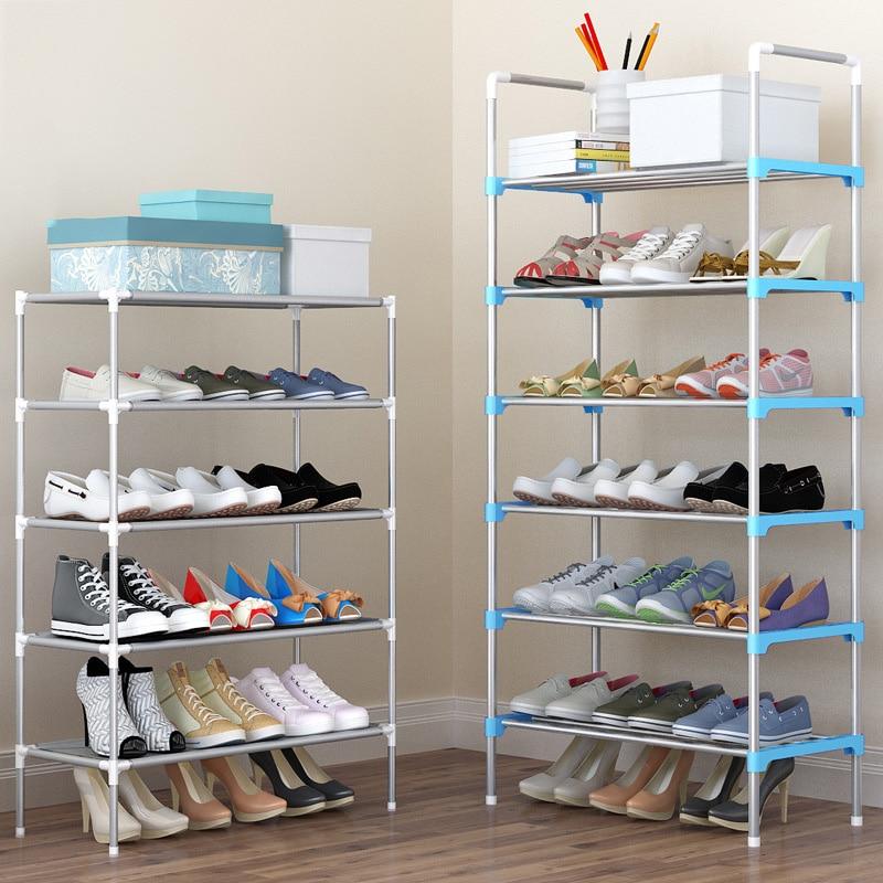 Multi-layer Shoe Organizer Rack Door Shoe Storage Cabinet Mental DIY Assembly Shoe Shelf With Handrail Simple Home Furniture