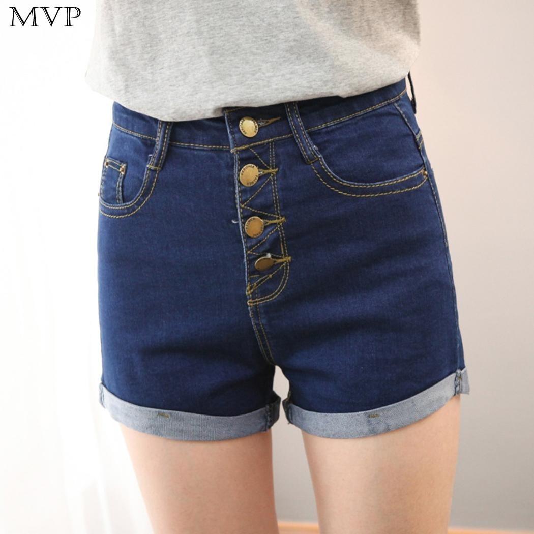 Shorts Women 2017 Fashion Summer High Waist Short feminino Roll Up Hem Casual Denim Jeans Shorts Short Jeans femme
