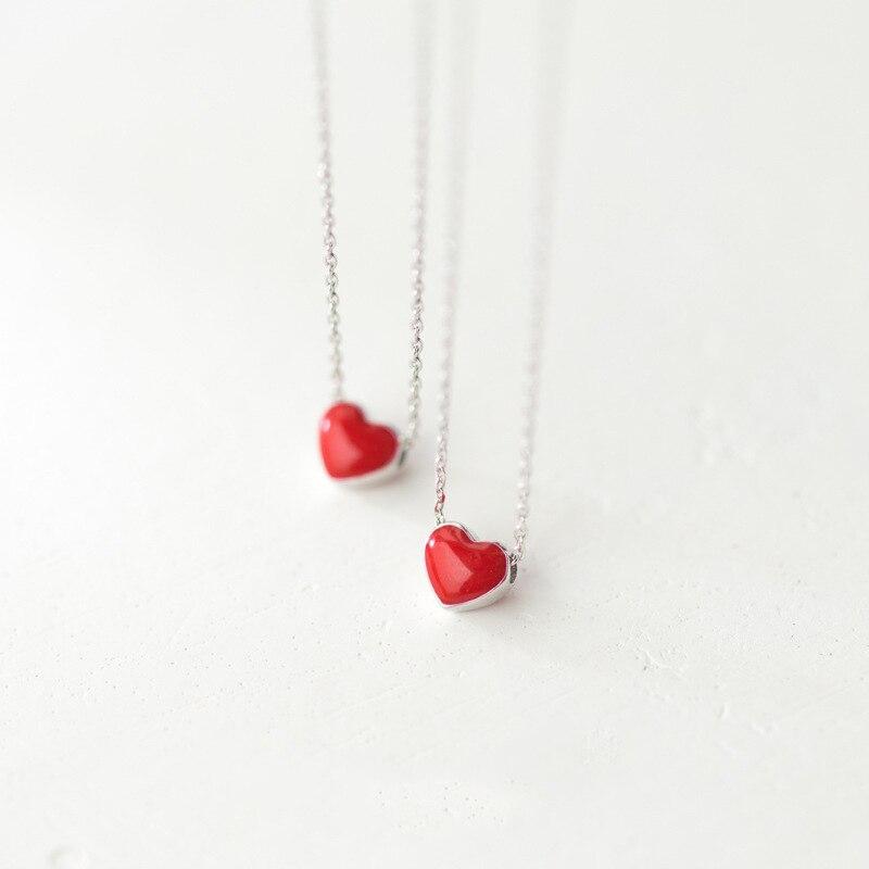 b03b17c7f0fc3 US $6.99 30% OFF|BOAKO Slim Tiny Cute Small Red Heart Charm Pendant 925  Sterling Silver Cross Chain Choker Necklace Women Jewelry Bijoux X7 M2-in  ...