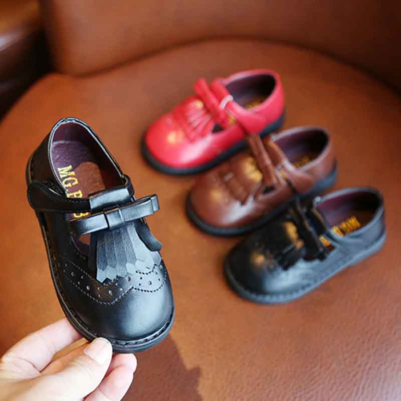 Kids Shoes New Children Toddler Baby Little Girls Summer Leather Shoes For Girls Princess T-word Shoes 1 2 3 4 5 6 7 Years New