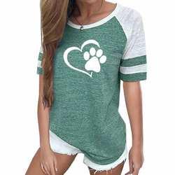 2019 Новая мода Любовь собака Лапа Печать Топ рубашка Женская Плюс Размер реглан розовая футболка Tumblr обрезанная Милая