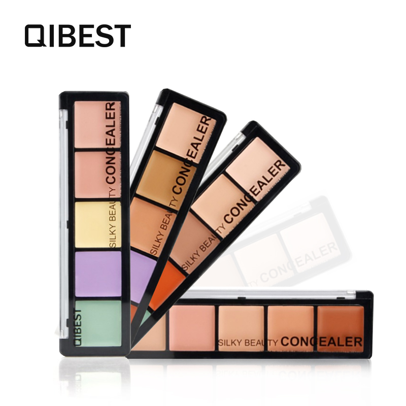 QIBEST Brand Makeup set Concealer Palette Trimming Foundation Silky beauty Brighten Long wear Fix Make up Cosmetic kit F18016