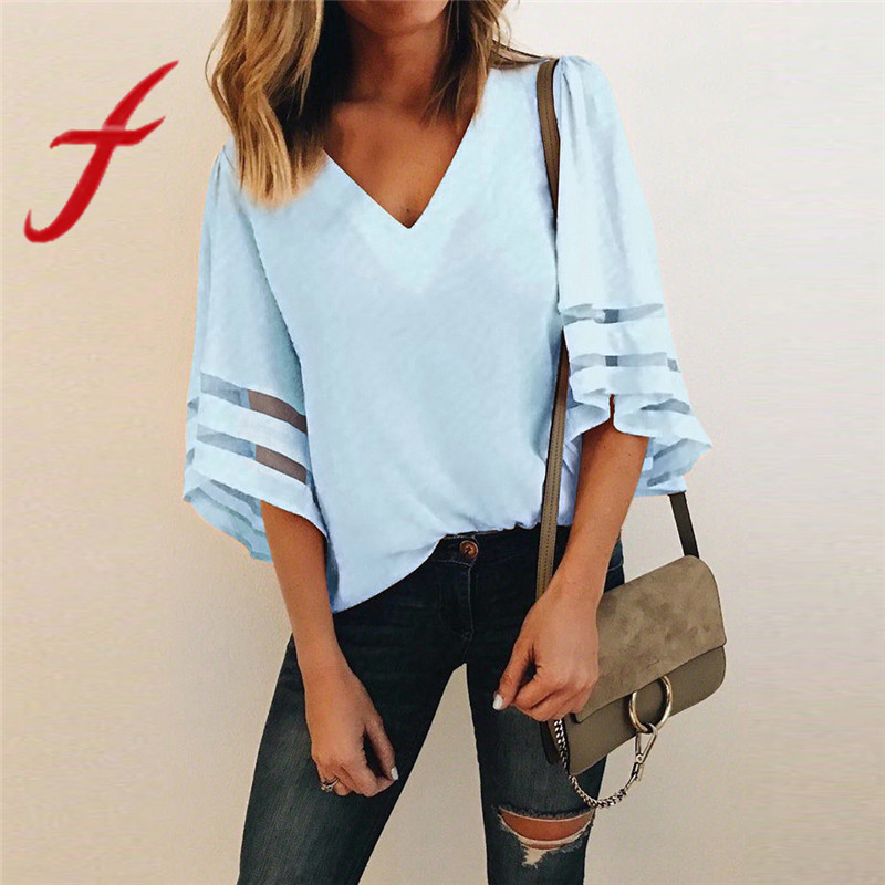 2019 New Summer Womens Tops And Blouses Long Sleeve V-neck Chiffon Shirt Bandage Black Sexy Streetwear Vintage Ladies Tops Back To Search Resultswomen's Clothing