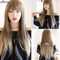 SHOWSTAR Harajuku Lolita Wig Brown Blonde Ombre Wig Cosplay Long Straight Hair Cheap Heat Resistant Synthetic Wigs Perruque