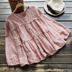 4882 nuevo otoño mujeres sweety Japón estilo floral bordado blusa mori chica algodón cuello redondo nueve cuartos manga camisa tops