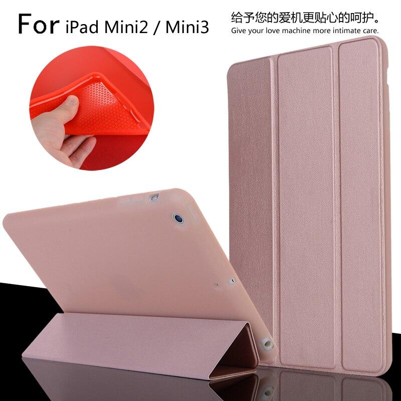 For iPad Mini 2 Mini 3 High Quality Ultra Slim Smart Sleep TPU Leather Case Cover For iPad Mini2 Mini3 + Film + Stylus