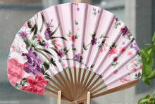 Beautiful Chinese Folding Pink Floral Bamboo Wood Hand Fan Wedding Decor(China)