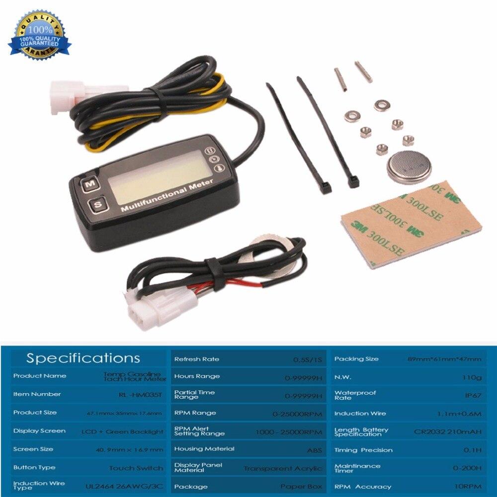 Rəqəmsal LCD takometr Saat Metr Termometr Temperaturu Qaz UTV ATV - Motosiklet aksesuarları və ehtiyat hissələri - Fotoqrafiya 4