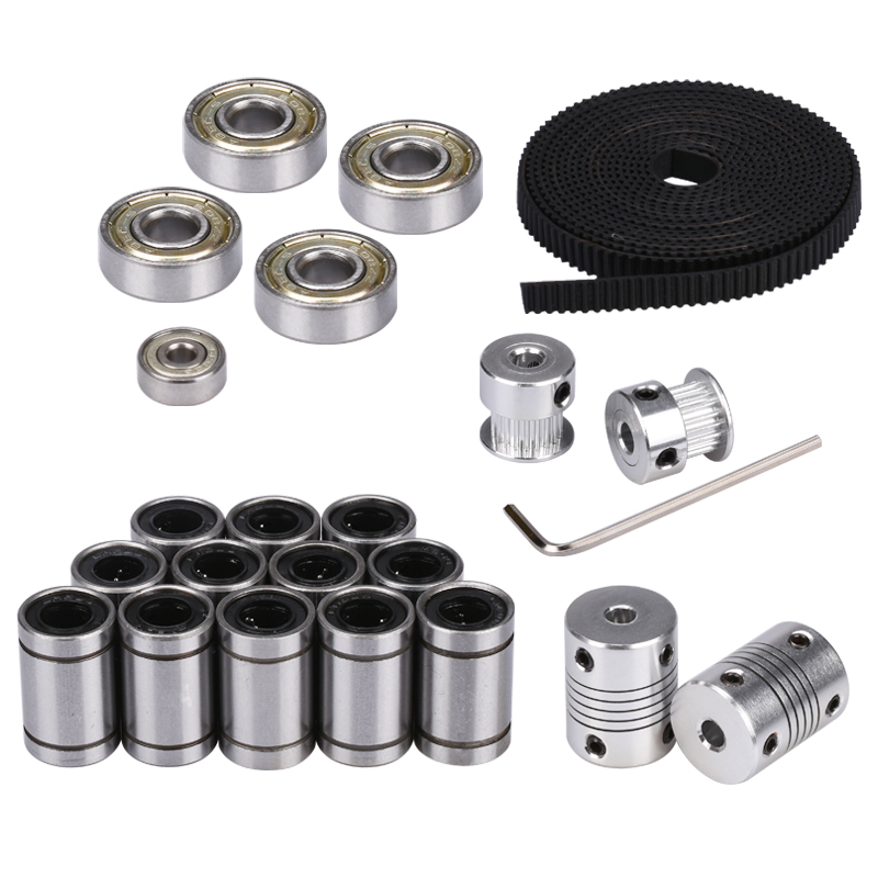 BIQU 3D printer reprap movement kit GT2 belt pulley 608zz bearing LM8UU 624ZZ bearing 3D printer part free shipping 3d printer reprap prusa i3 movement kit gt2 belt pulley 608zz bearing lm8uu 624zz bearing