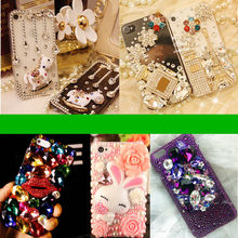 3D Bling Luxury Clear Crystals Diamonds Camellia Hard Case For iphone4/5/5S/SE/6/6s/iphone 6 plus/iphone 6s plus/iphone 7/Plus