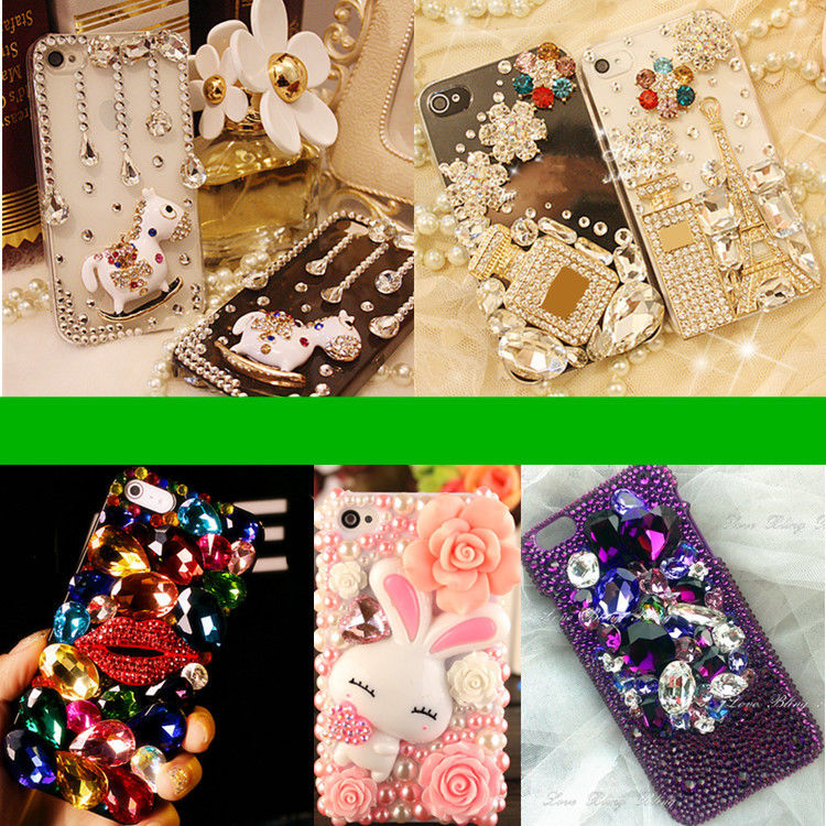 3D Bling Luxury Clear Crystals Diamonds Camellia Hard Case para - Accesorios y repuestos para celulares