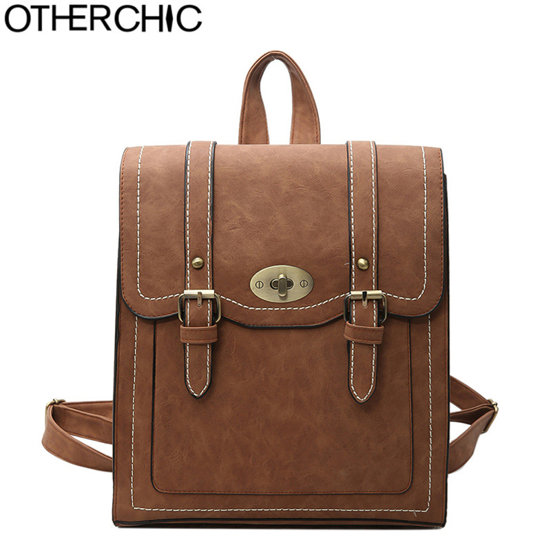 OTHERCHIC Fashion Women Backpack High Quality Vintage Leather Backpacks Teenage Girls School Shoulder Bag Haversack L