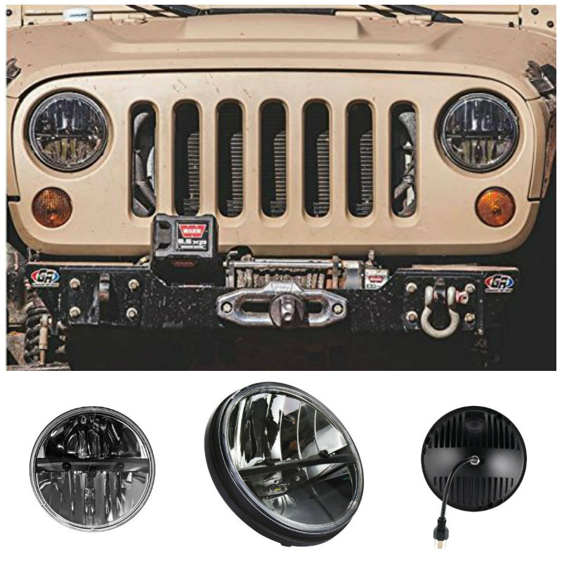 7 inch DOT Approved LED Round Headlight 6000K Hi/lo Beam and DRL Lamp with Halo for Jeep Wrangler JK TJ LJ Harley Davidson 7 inch round 50w 7 led headlight h4 led head lamp for harley motorcycle for jeep wrangler 4x4 with white amber halo hi low beam