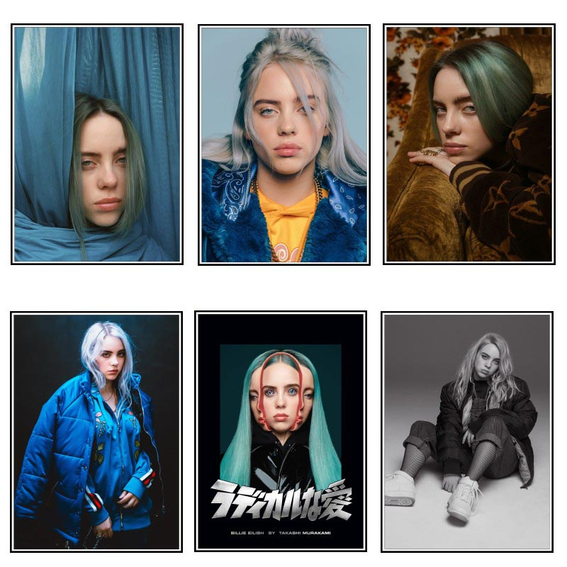Wall Art Modular Prints Pictures Nordic Style Billie Eilish Singer Star Poster Painting Modern Canvas For Living Room Home Decor