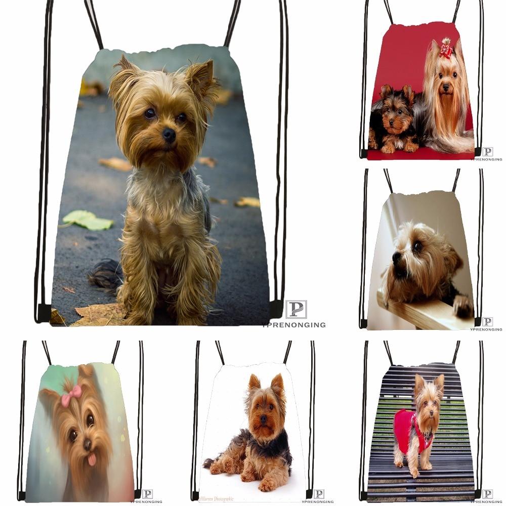 Custom Cute Yorkshire Terrier Drawstring Backpack Bag Cute Daypack Kids Satchel (Black Back) 31x40cm#180531-03-02