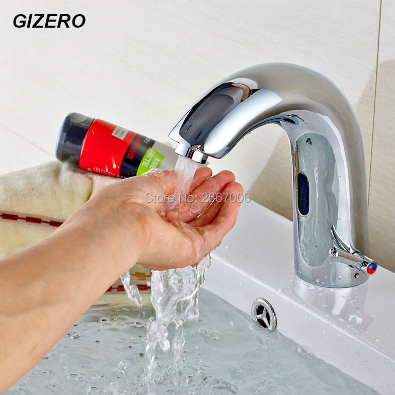 GIZERO Free Shipping Hot&Cold DC Battery Automatic inflared Sensor Faucet for bathroom water saving Inductive Water Tap ZR6139 free shipping new discount countertop bathroom automatic sensor faucet for hotel home water saving tap zr6130