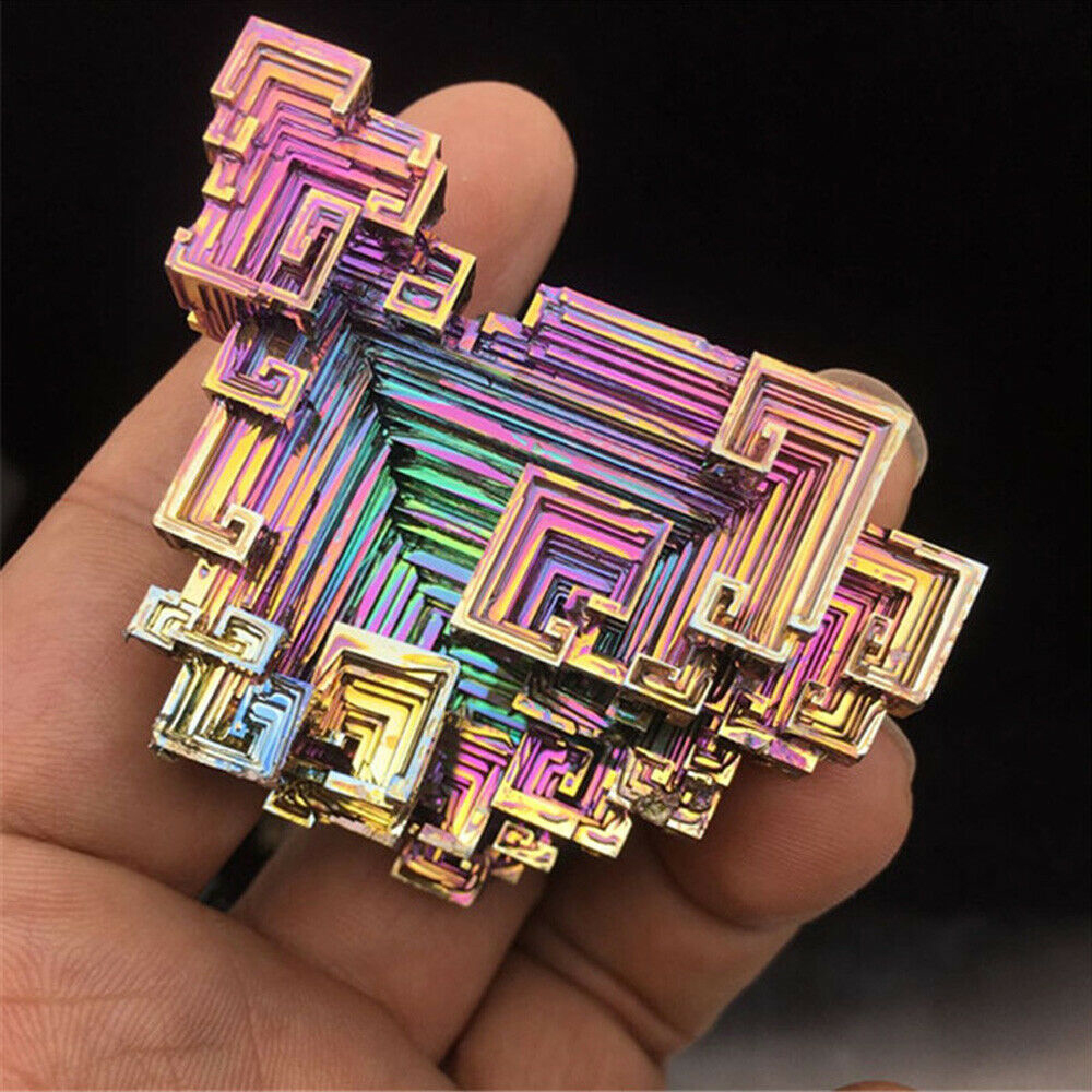 1Pc Irregular Bismuth Crystals Natural Titanium Bismuth Rare Rainbow Metal Crystal Mineral Gemstone Decor Metal Ornaments Stone skipping rope