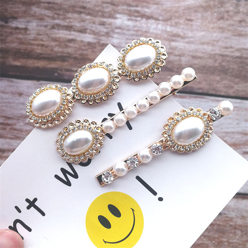 New 3Pcs/set Pearl Metal Gold Color Hair Clip Bobby Pin Barrette Hairband Hairpin Headdress for women girls Hair Accessories
