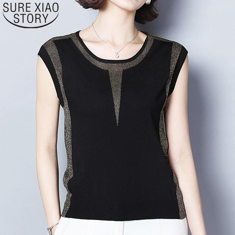 Women Shirt 2019 Ladies Tops Sleeveless Solid O-Neck Womens Clothing Shirts Shirt Black Tops T Shirt Women Clothes 4348 50