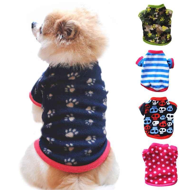 Рождественский костюм с милым рисунком одежда для собаки из флиса пальто для домашних питомцев щенков теплые зимние пуловеры рубашка такса кошка одежда для щенков