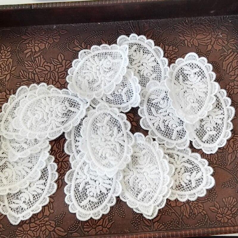 10 шт./лот белая хлопковая органза вышивка и ткань кружева патч отделка одежды торжественное платье diy Аппликация Скрапбукинг NL359