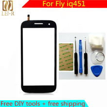 Free DIY Tools + Original New Touch Screen For Fly IQ451 Glass Capacitive sensor For Fly IQ 451 IQ451 Touch Screen panel Black
