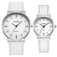 Luxury O T SEA Brand Silver Case Pair Leather Watches Men Women Ladies Lovers Fashion Quartz