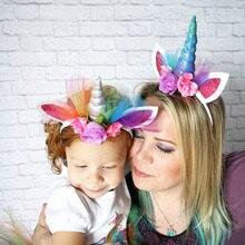 10 и 20 штук rainbow Unicorn рога Лентой Дети шифон единорог глава блеск Hairbands Пасха бонус для вечеринки подарок Аксессуары для волос