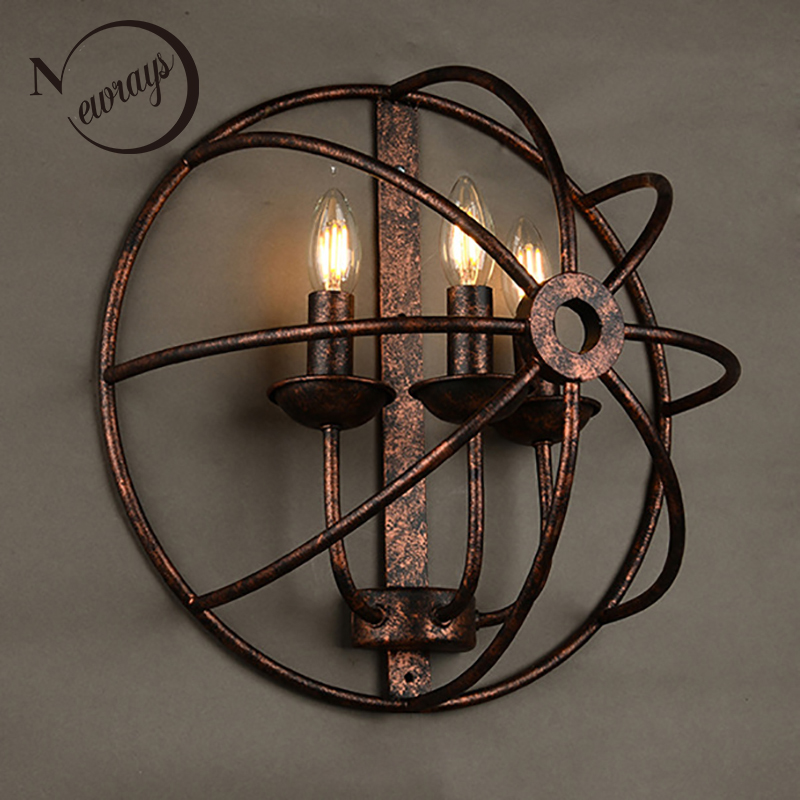 Loft Industrial round style black iron rust retro 3 lights wall lamps E14 LED wall lights sconce for living room bedroom barLoft Industrial round style black iron rust retro 3 lights wall lamps E14 LED wall lights sconce for living room bedroom bar