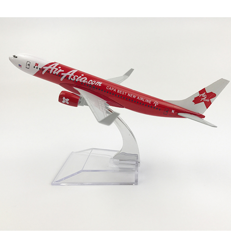 Free Shipping AirAsia Boeing 737 Airplane 16CM Metal Alloy Diecast 1:400 Airplane Model Toys For Children Aeroplane Model MX22