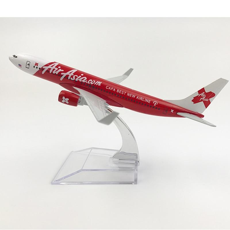 Free Shipping AirAsia Boeing 737 Airplane 16CM Metal Alloy Diecast 1:400 Airplane Model Toys For Children Aeroplane Model MX22
