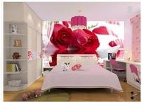 Barco de papel papel de parede 3d para quarto Modern red rose reflexão 3D pintura decorativa papel de parede 3d flor