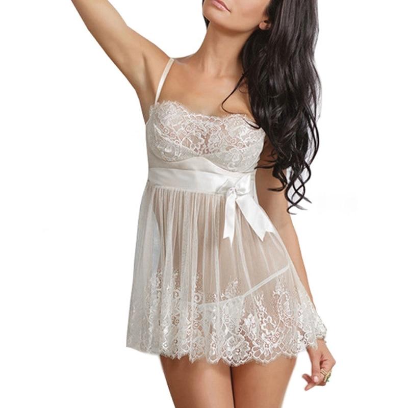 Womens Sexy Lingerie Erotic Babydoll Bowknot Sleepwear Lace Dress G-String Sheer