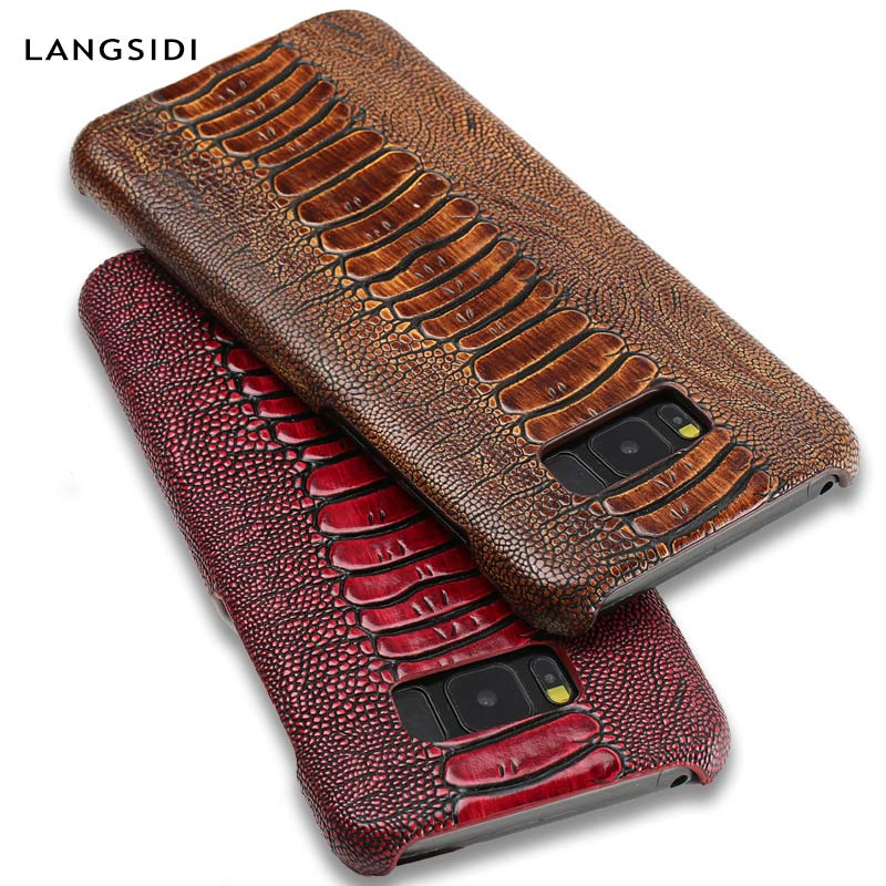 ostrich pattern Genuine Leather phone case for Samsung Galaxy s10 S8 S7 S9 Plus A50 A70 A40 A10 A30 J6 A8 A7 A9 2018 Note 10 8 9-in Half-wrapped Cases from Cellphones & Telecommunications