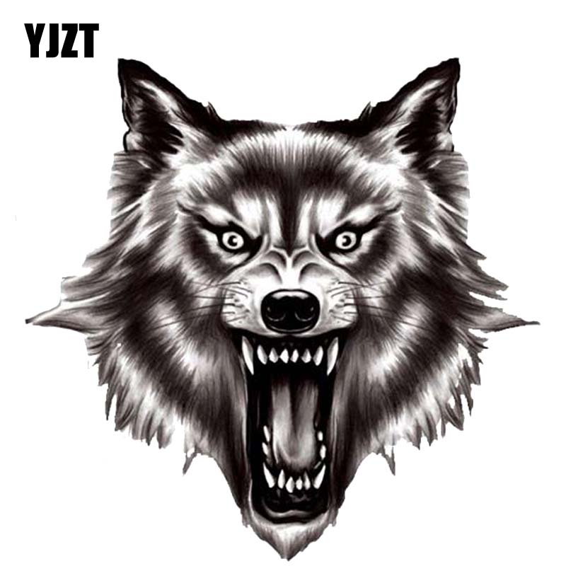 YJZT 13.5CM*13.2CM A Ferocious Wolf Quality PVC Car Sticker Decal 12-300523