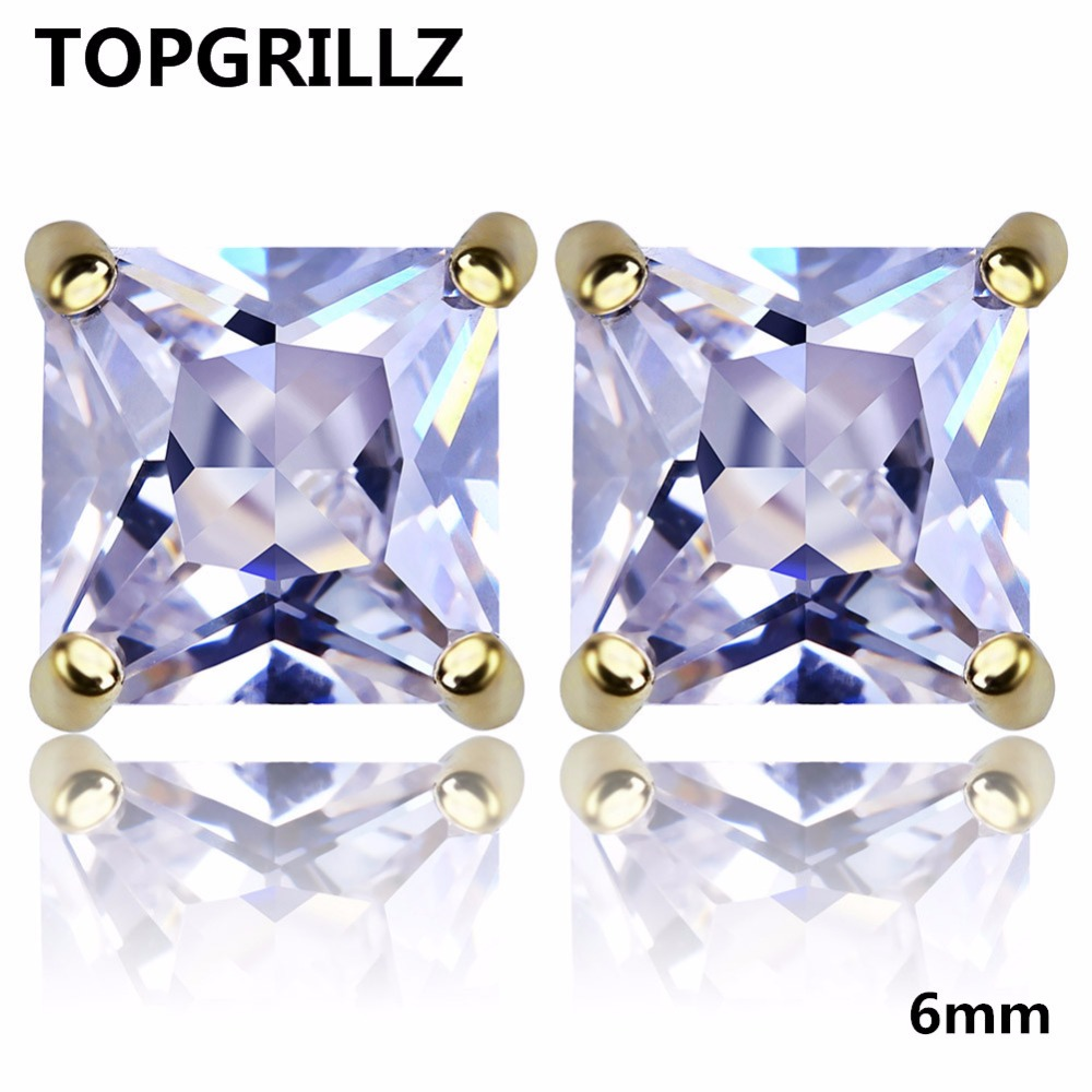 TOPGRILLZ Gold/Silver Color Plated Iced Out Micro Pave 6mm CZ Stone Lab D Stud Earings With Screw Back Hip Hop Jewelry