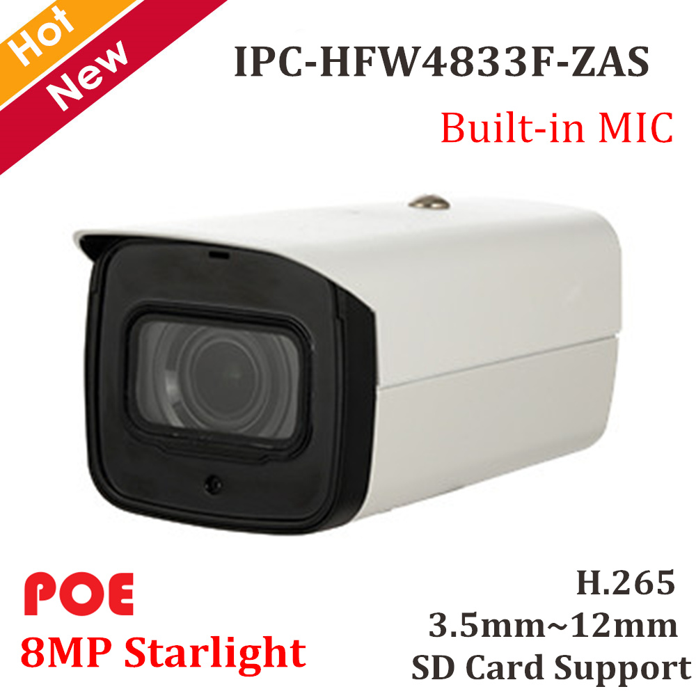 Original 8mp Starlight IP Camera IPC-HFW4833F-ZAS H.265 Variable Lens 3.5mm~12mm Support Max 128g Sd Card And Built-in Mic