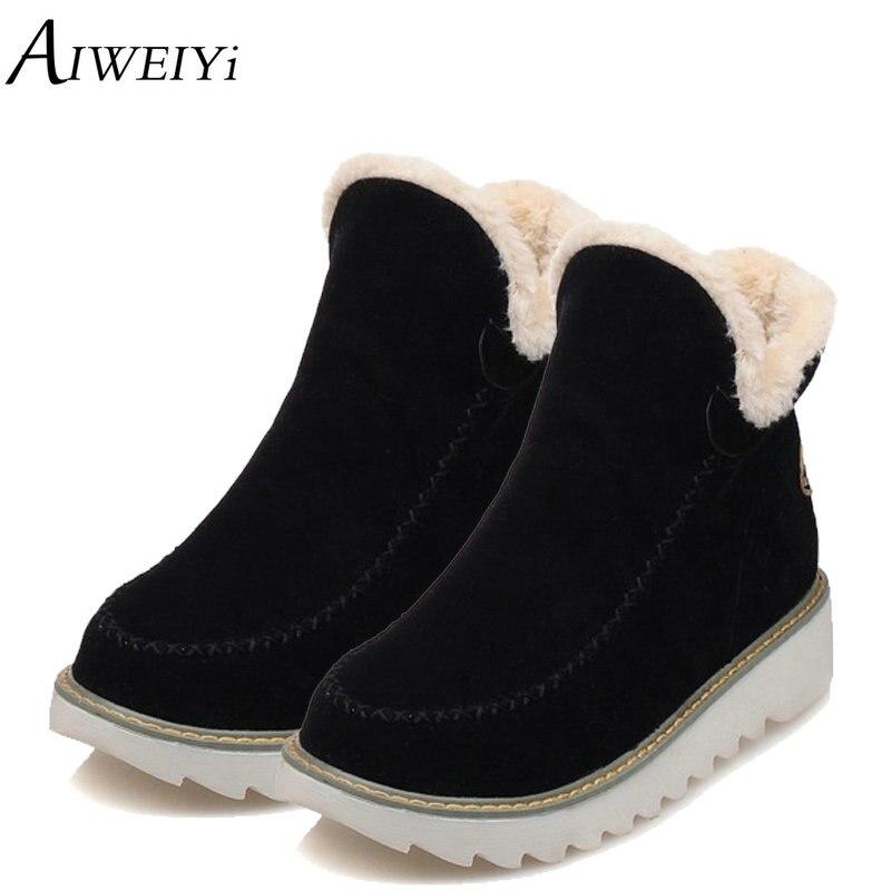 AIWEIYi nagy méret 34-43 női boka csizma Flock kerek lábujj - Női cipő